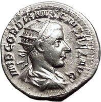 GORDIAN III 239AD Ancient Silver Roman Coin Aequitas  Fair trade Wealth i55701