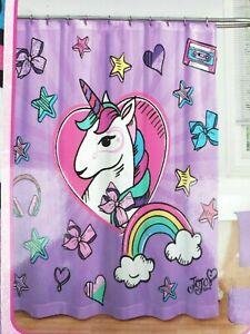 JOJO SIWA Unicorn 13 Piece Shower Curtain & Hooks Set Purple Pink teen bath gift