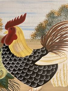 Small decorative folding table with colorful painting of rooster.