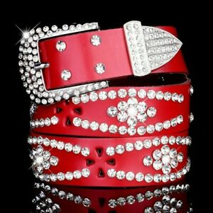 Women Leather Belts Rhinestone Crystal Wet Look Waistband Hollow Out Glitter