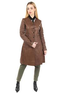 RRP €1250 CHEREVICHKIOTVICHKI Camel Leather Coat Size S Unlined Worn Look