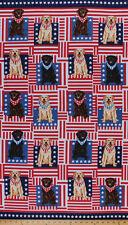 "23.5"" X 44"" Panel Patriotic Labradors Dogs Dog Cotton Fabric Panel D765.01"