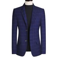 Men Blue Plaid Tweed Suit Groom Tuxedo Party Dinner Prom Wedding Suit Blazer