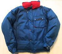 VINTAGE CANADA SNOW GOOSE MENS S SMALL BLUE RED DOWN BOMBER COAT JACKET EUC