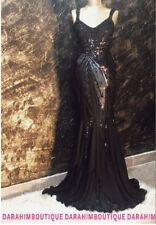 DARAHIM BOUTIQU Black Sequins Sleeveless Maxi Chiffon Tail Prom Dress Dresses UK
