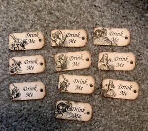 10 Tiny Alice in wonderland Drink Me tags Wedding Birthday tea party Decorations
