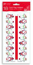 18 Porta Carte di Natale esegue il pegging & RED RIBBON Babbo Natale & Pupazzo di Neve Natale Design PEGN