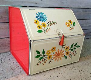 Vintage Mid Century White & Cream Floral 2 Compartment Tin Bread Box Pie Safe