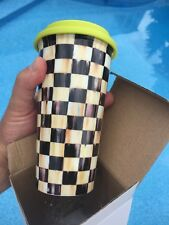 New Unused in Box Mackenzie Childs Courtly Check 14oz Travel Cup NIB