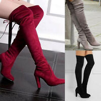 Fashion Women Lady Thigh High Over The Knee Long Lace Up Block Heel Boots Shoes