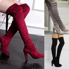 SEXY WOMAN LADIES THIGH HIGH OVER THE KNEE LONG LACE UP BLOCK HEEL BOOTS SHOES