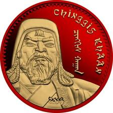 Mongolia 2014 1000 Togrog Chinggis Khaan Space Red 1 Oz Proof Gilded Silver Coin