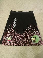 Cute kitsch japanese Harajuku print cosplay black cotton A line skirt xl 16/18