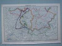 1943 Landkarte Deutschland South ~ Württemberg Baden Österreich Munich Bavaria