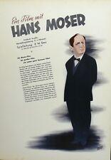 Original ~Hans Moser~ Altes Film Plakat UfA 1939/40 Poster signiert Bruno Rehak