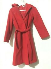 Tailored By Rothschild Usa Girls Red Coat Hood Belt Formal Dressy Size 12 Wool