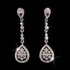 Bridal Clear Crystal Teardrop Earrings Long Chandelier Earrings for Wedding