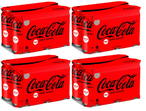 Coca-Cola Zero Sugar 4 x 6 Pack = 24 x 330ml Cans Best Before 31st Aug 2021