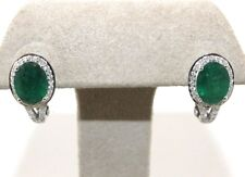 Oval Emerald & Diamond Huggie Stud Earrings 18K White Gold 3.76Ct