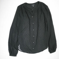 Ann Taylor Black Sheer Swiss Dot Long Sleeve Button Front Blouse Shirt Top XS