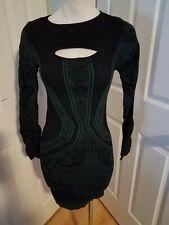 Bebe Black Green Cut Out Dress M