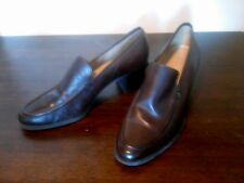 Vtg Enzo Angiolini  Leather Round Pointed Toe Block Heels Womens 7.5 N Brazil