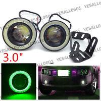 "2pcs 3.0"" COB LED Projector Lens Angel Eye Ring Halo Fog Driving Light SUV Green"