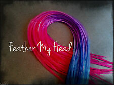Feather Hair Extensions Tye Dye Fade Multi Color Rainbow Medium Length Whiting