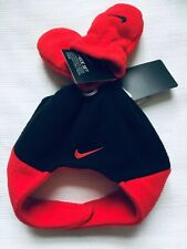 NIKE Infant Baby Boy Fleece Hat Mittens Set Black Red NEW