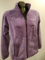 Columbia Women's Size Medium Fleece Jacket Coat Purple Print Full Zip Pockets M
