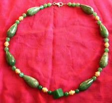 Modernes Aventurin/Jade-Collier mit Silber-Teilen (925er) vergoldet