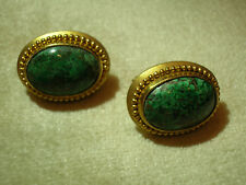 18K SOLID YELLOW GOLD OVAL CABOCHON CHRYSOCOLLA EARRINGS