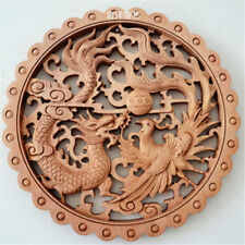 ART!CHINESE HAND CARVED DRAGON PHOENIX STATUE CAMPHOR WOOD PLATE WALL SCULPTURE