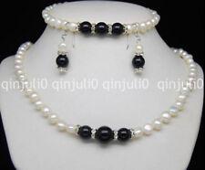 Genuine 7-8mm White Pearl Black Agate Necklace Bracelet Earrings Set JN1149