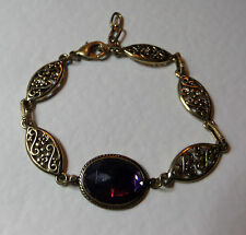 VICTORIAN STYLE DEEP PURPLE OVAL DARK GOLD PLATED MARQUISE BRACELET