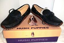 Hush Puppies Womens Gwen Drivers Black Leather Moc Loafers Moccasins Slip On NEW