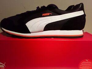 Puma St Runner Men UK 12. Black, White, Orange Suede EUR47 US 13