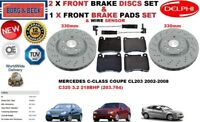 FOR MERCEDES C320 COUPE CL203 330MM FRONT BRAKE DISCS SET + PADS KIT + SENSOR