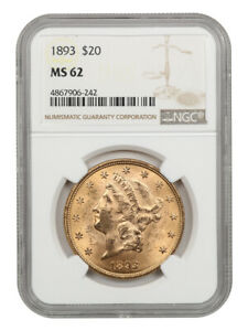 1893 $20 NGC MS62 - Liberty Double Eagle - Gold Coin