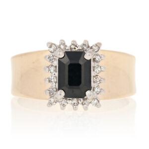 Yellow Gold Sapphire & Diamond Ring - 14k Rectangle Cut 1.21ctw Halo