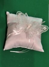 Beautiful SPARKLY Butterfly RING BEARER PILLOW IVORY Satin PEARL for WEDDING NEW