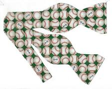 (1) Baseball Self-tie Bow tie - Rows of Baseballs on green