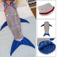 Baby Kids Shark Mermaid Tail Cosy Fleece Blanket Snuggle-in Sleeping Bag Top