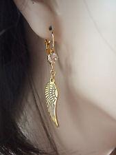 FABULOUS GOLD TONE ANGEL WING & CRYSTAL HOOK CHARM BIJOUX EARRINGS