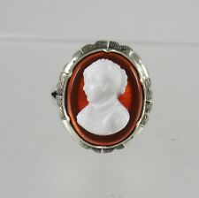 Vintage Glass Cameo Ring Sterling Silver Size 7 Carnelian & White Cameo