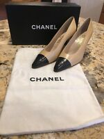 New Chanel Chevreau Two Tone Beige Black Logo High Heels Shoes 38 Box & Dust Bag