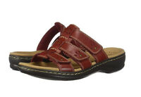 Clarks Collection Black Sole Slide Sandals Leisa Spring Red - NEW