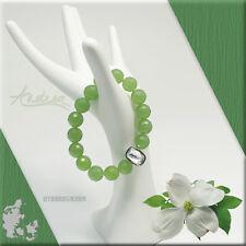 DYRBERG/KERN Bracelet Beaded Created Faceted Jade and Large Swarovski Crystal