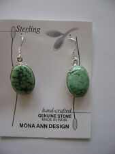 Sterling Silver Genuine Turquoise Oval Stone Hook Earrings New