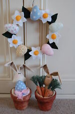 PRIMITIVE FOLK ART SEWING PATTERN 'EASTER BUNNY POTS' EASTER WREATH & BUNNIES